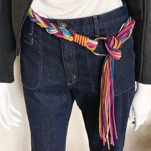 "Etro Braided Leather Belt, 59"", Multi-colored"